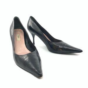 Prada black leather heels